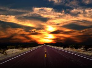 long road into the sunset